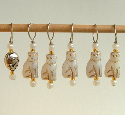 White Cat Stitch Markers--Set of Six